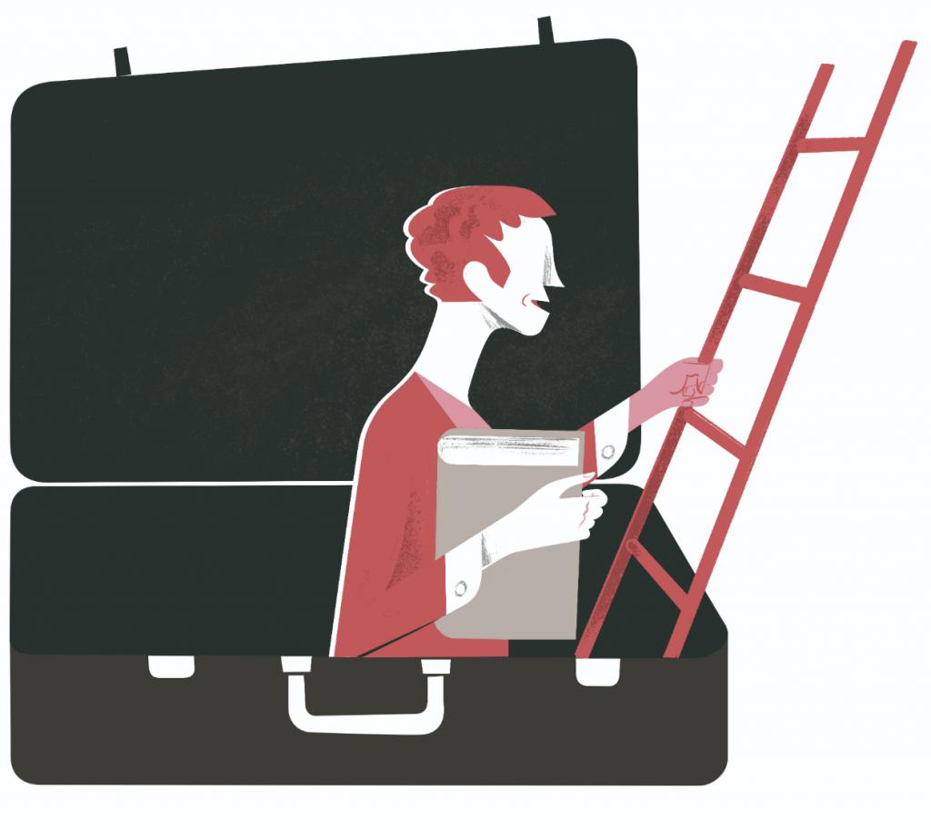 BNF Dual Career Couples: männliche Person mit Buch klettert aus einem Koffer