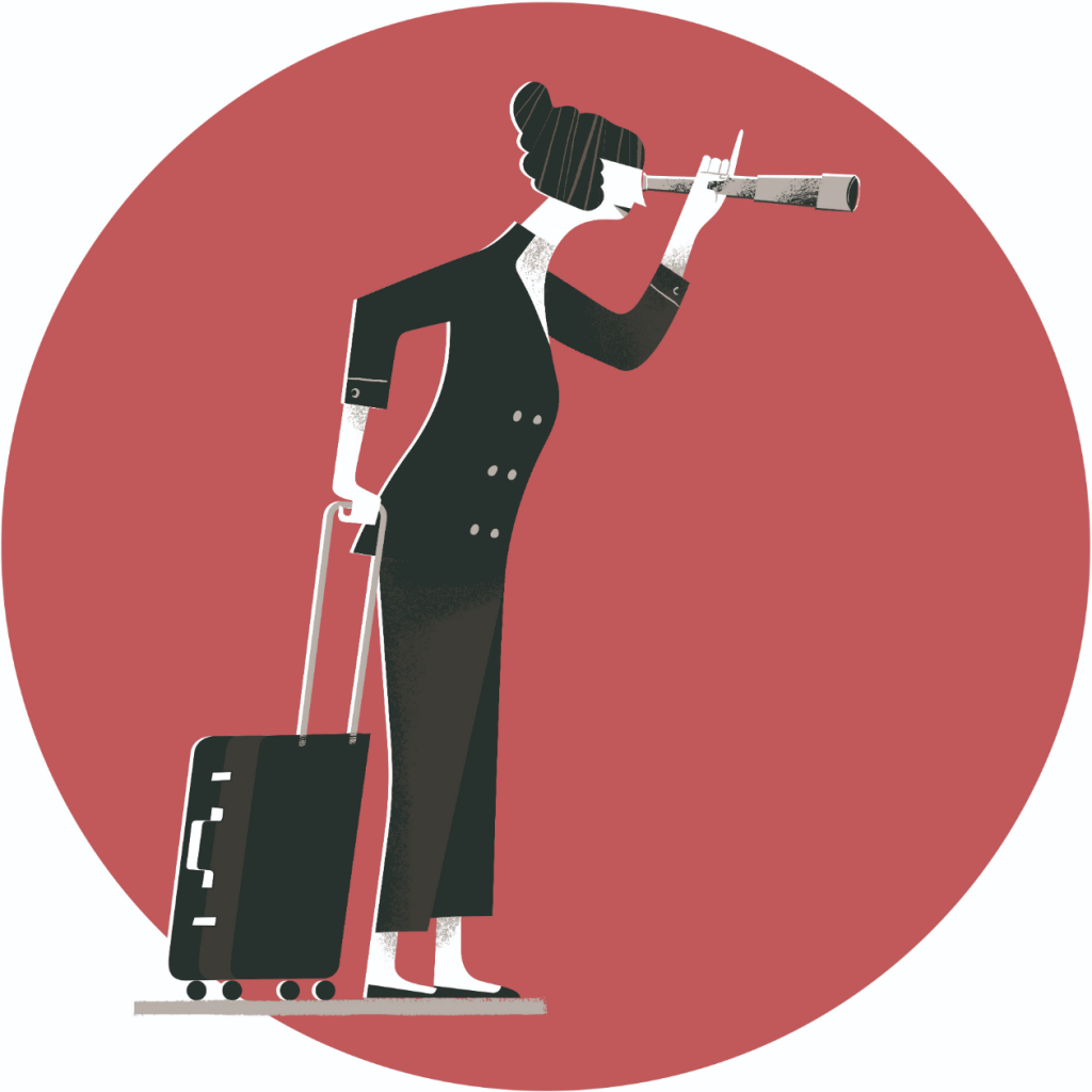 Dual Career Couples: Female person with suitcase and telescope